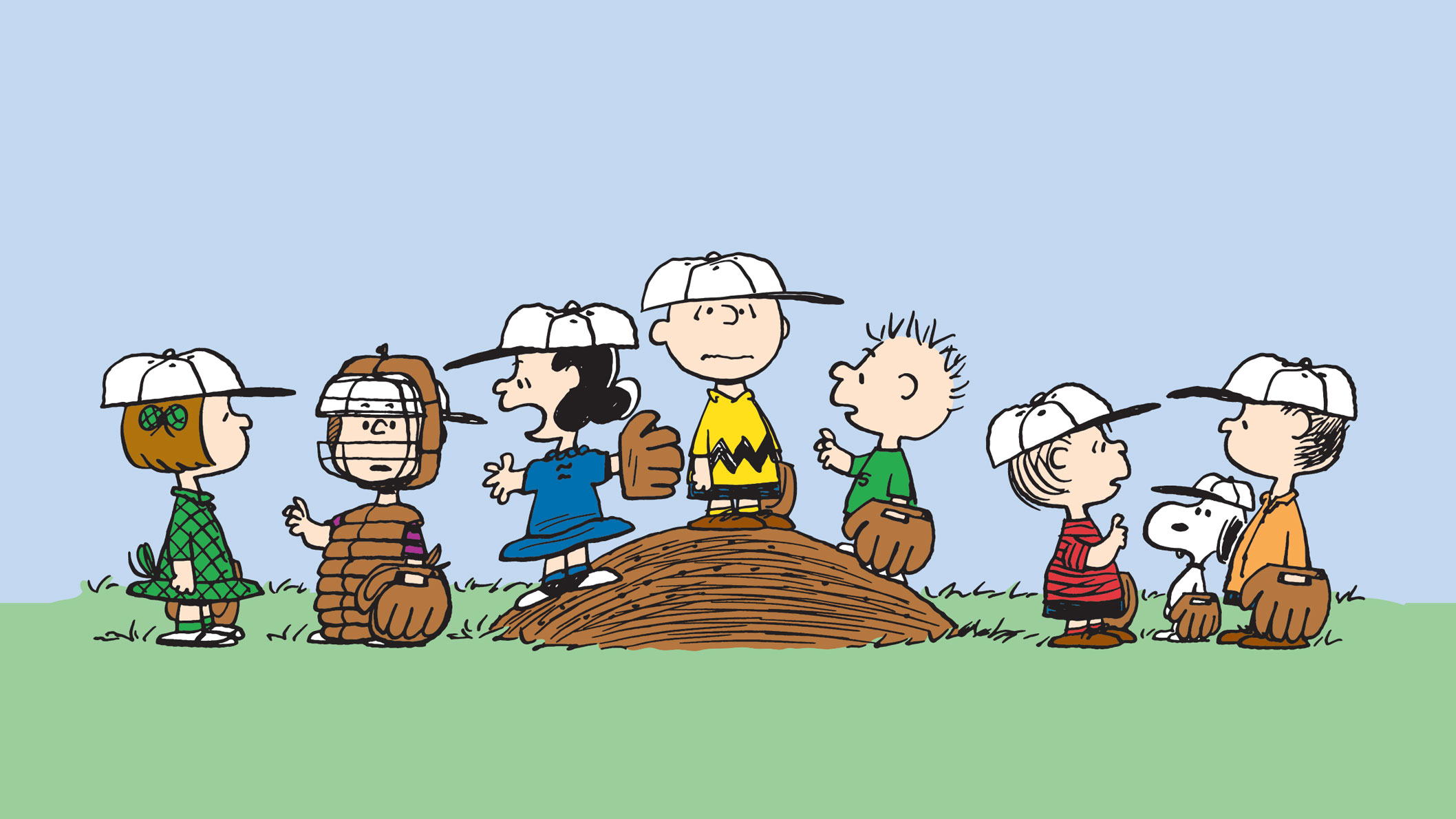 Eight cartoon characters, in baseball gear, standing on the grass and looking at each other.