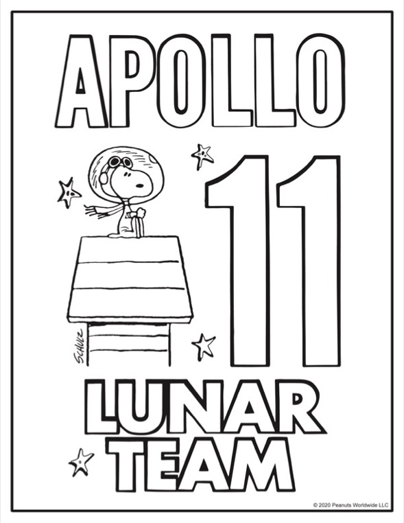 Coloring sheet of black and white dog in an astronaut suit on top of a doghouse