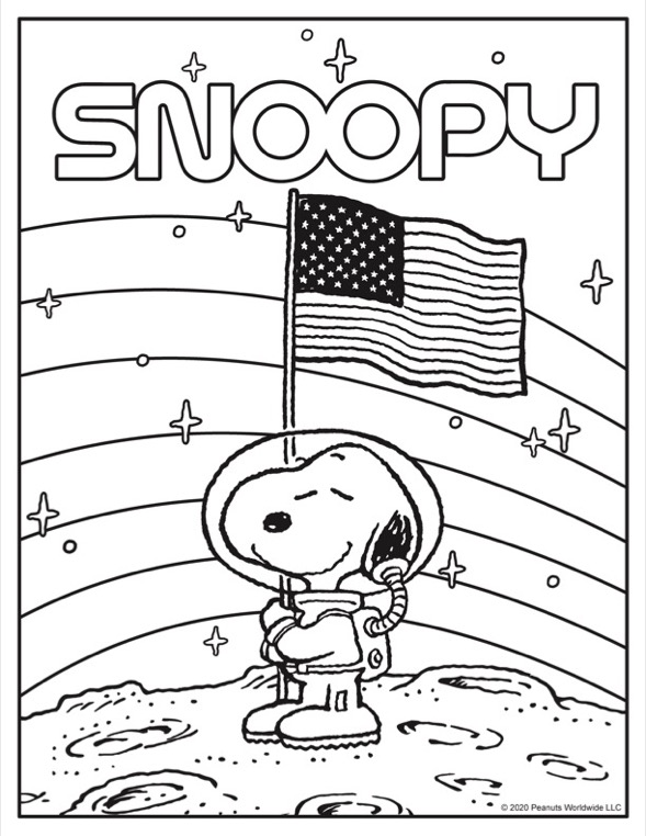 Coloring sheet of black and white dog in astronaut suite holding an American flag on top of the moon