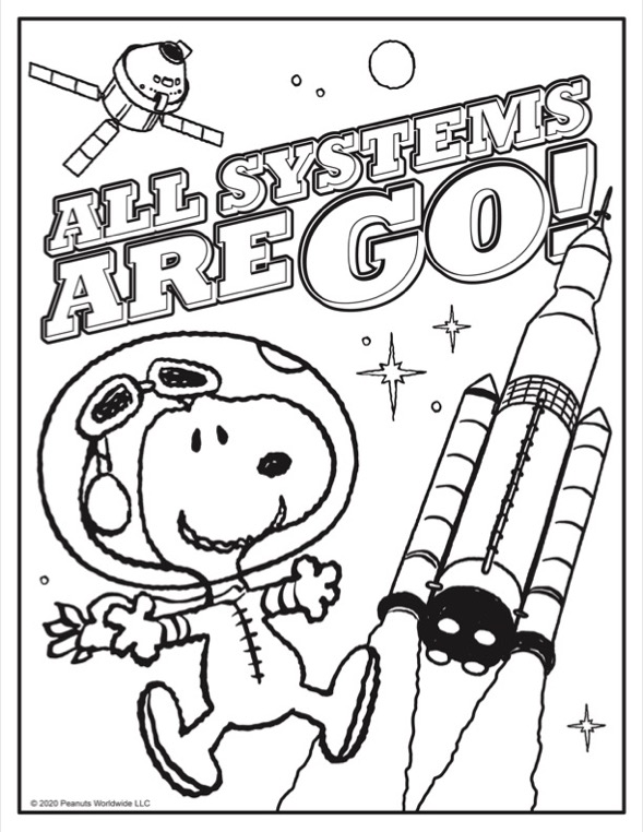 Coloring sheet of black and white dog in an astronaut suit next to a space shuttle
