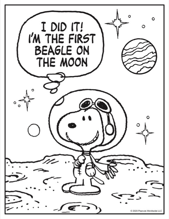 Coloring sheet of black and white dog in an astronaut suit on the moon