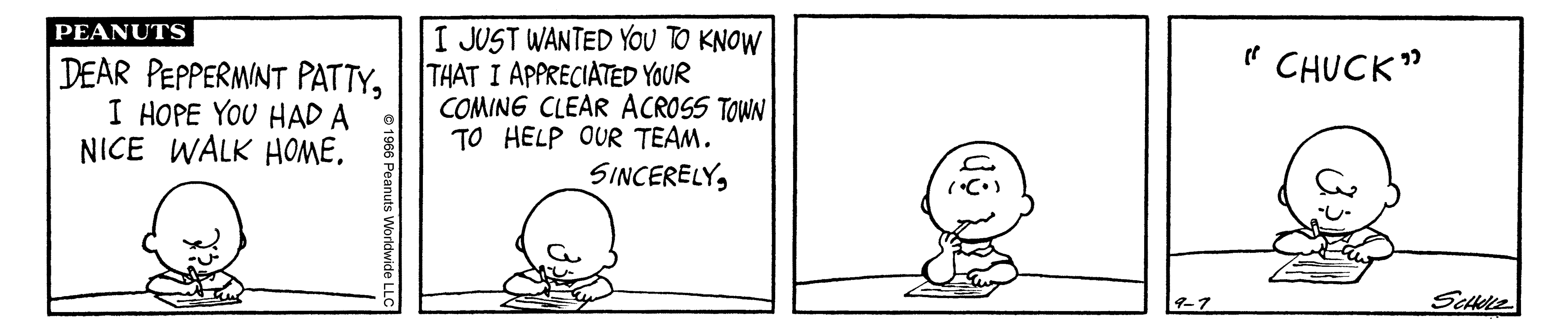 A black and white comic strip of a boy sitting at a table and writing.
