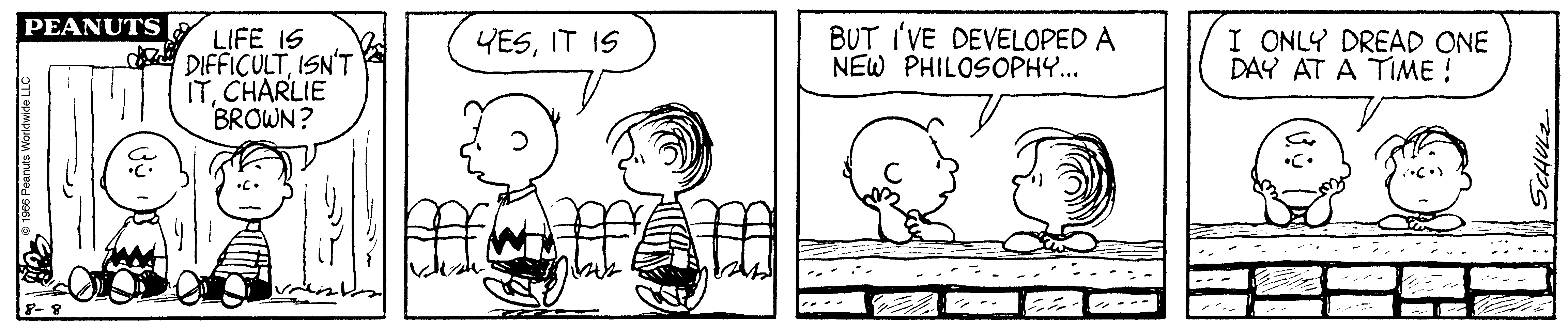 A black and white comic strip of two boys leaning on a fence and talking.