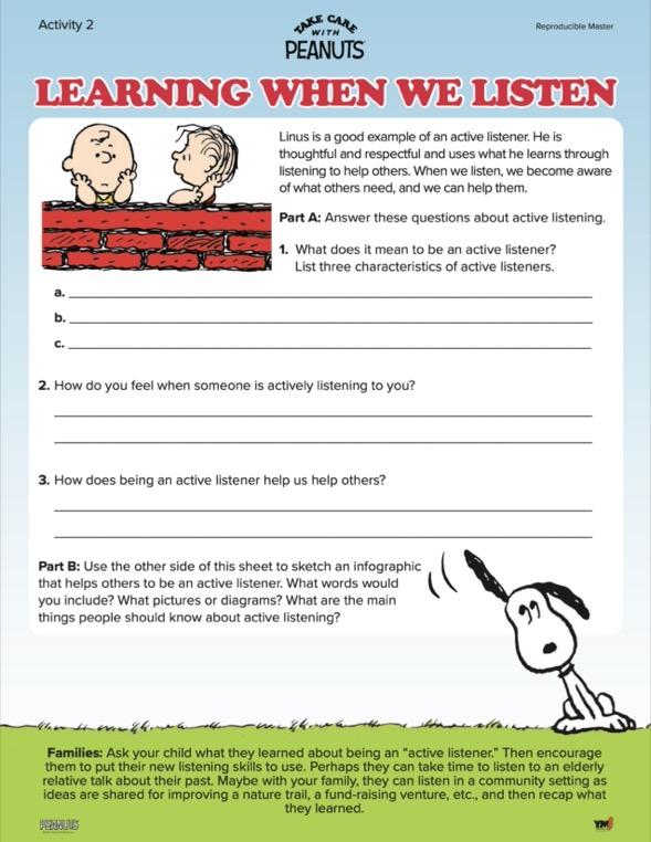 Learning when we listen activity sheet