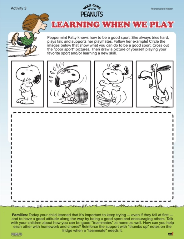 Learning when we play activity sheet