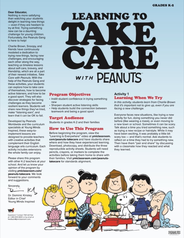 Learning to Take Care with Peanuts parent guide and activity sheet for grades K-2