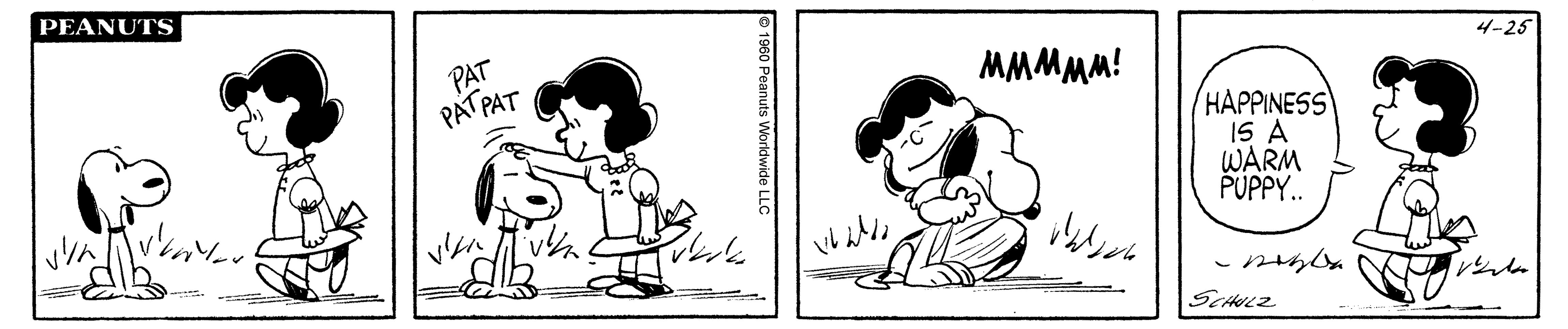 A black and white comic strip of a girl hugging and petting a dog.
