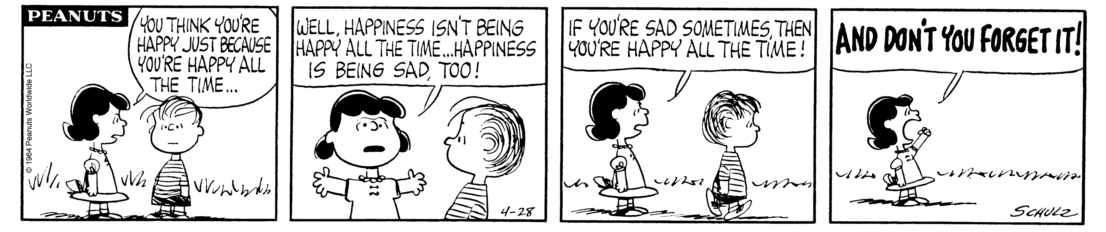 A black and white comic strip of a boy and girl talking.