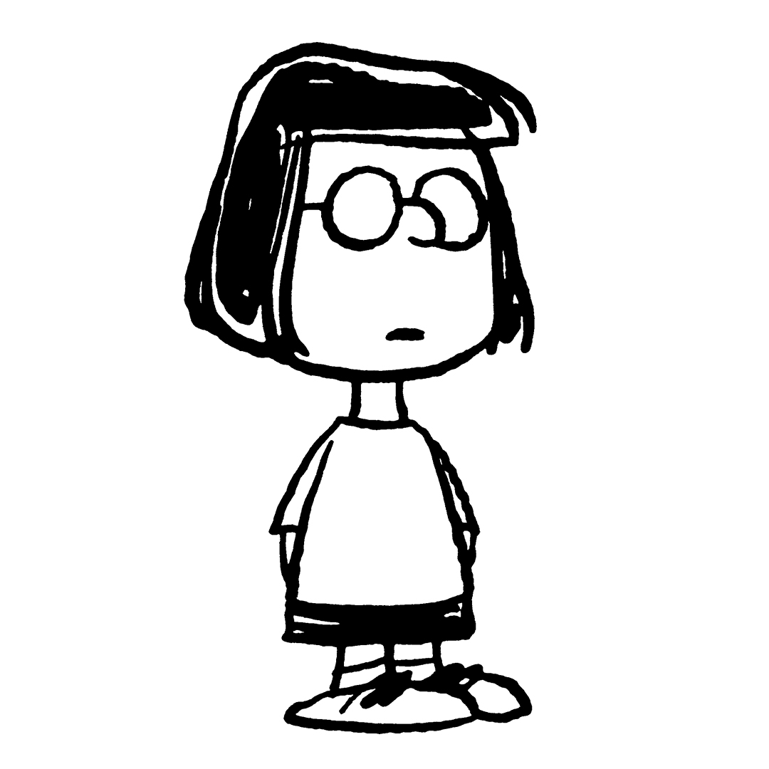 Black and white image of a girl with short black hair wearing glasses