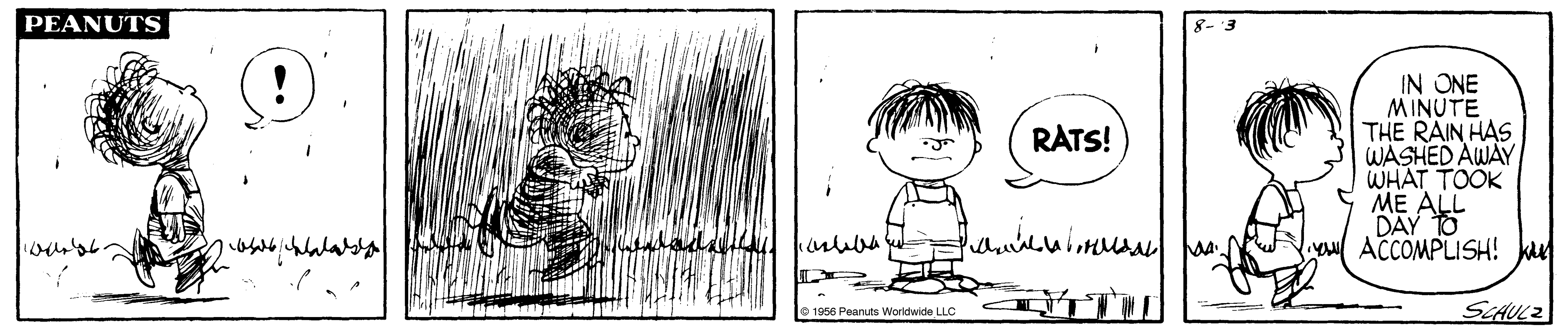A comic strip of a boy running through a dust cloud and another boy standing in front of a puddle.