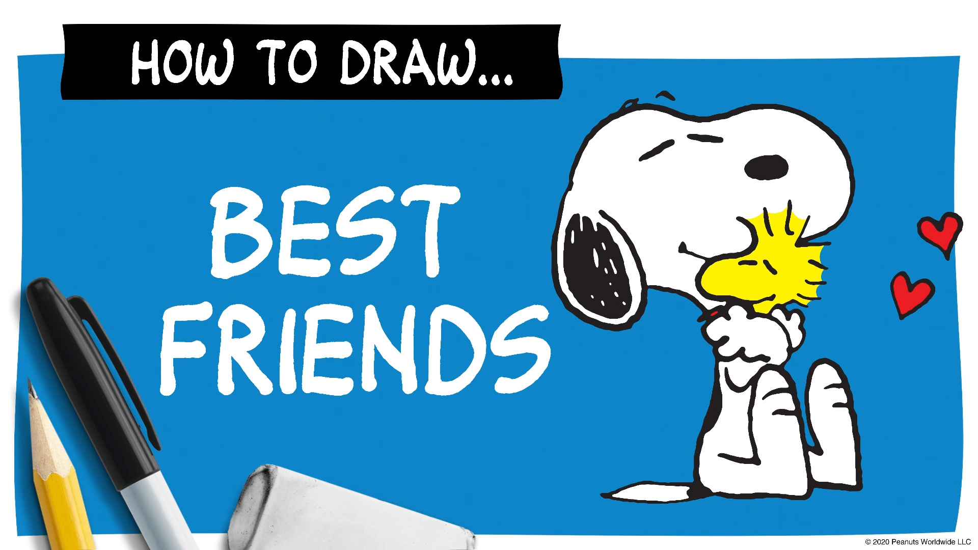 A black and white beagle hugging a little yellow bird next to a pen and pencil