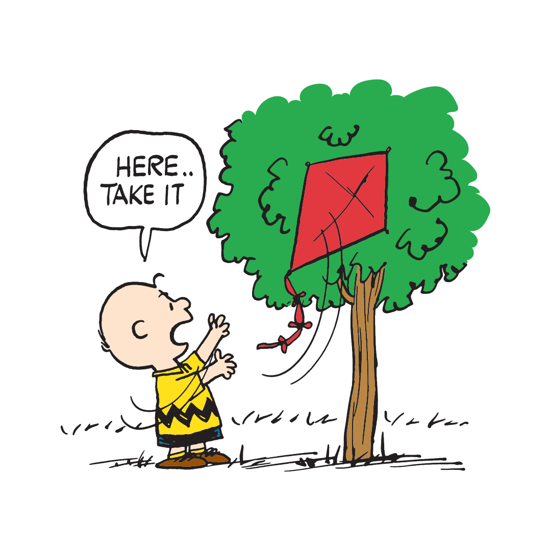 Boy wearing a yellow shirt with a black zigzag yellow at a tree which has a red kite stuck in it