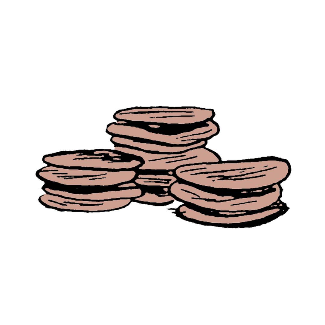 Three stacks of mud pies