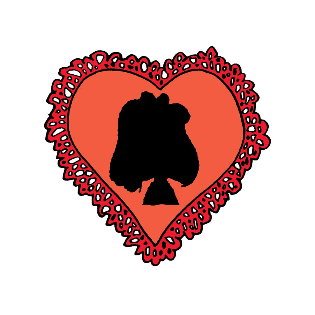 Red heart with a silhouette of a girl
