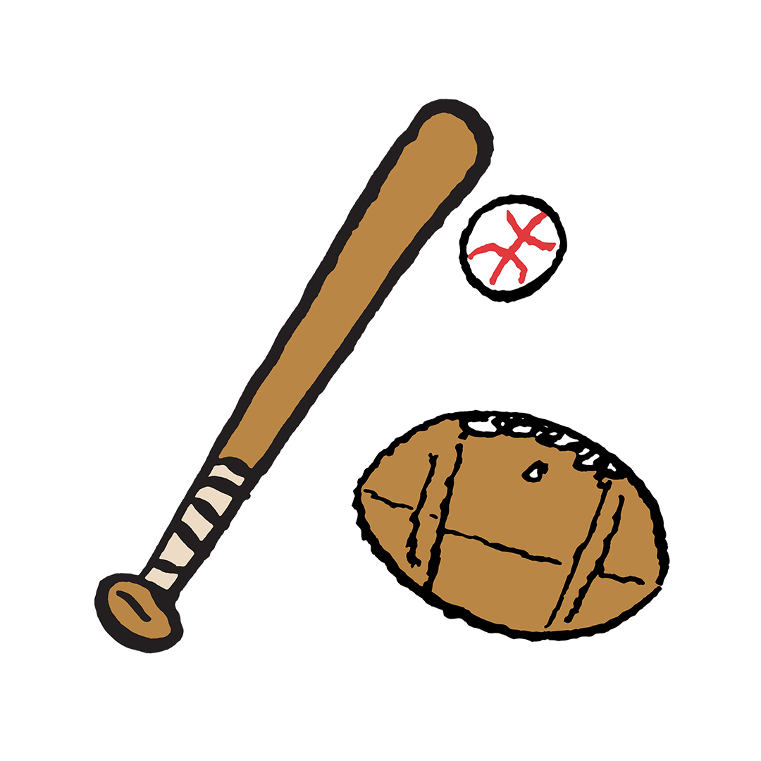 Baseball bat, baseball and football