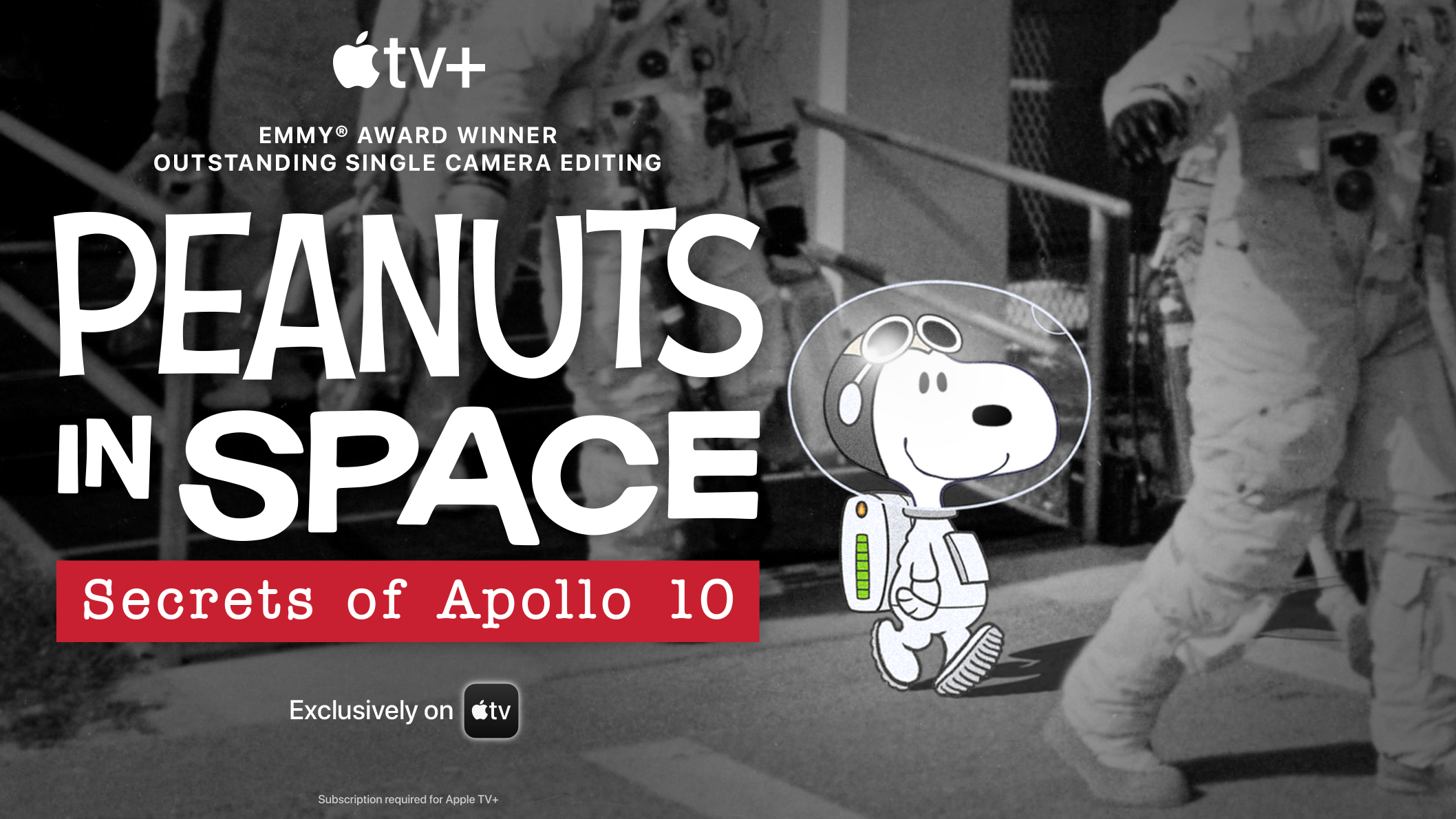 Black and white dog in astronaut suit next to the words Peanuts in Space Secrets of Apollo 10