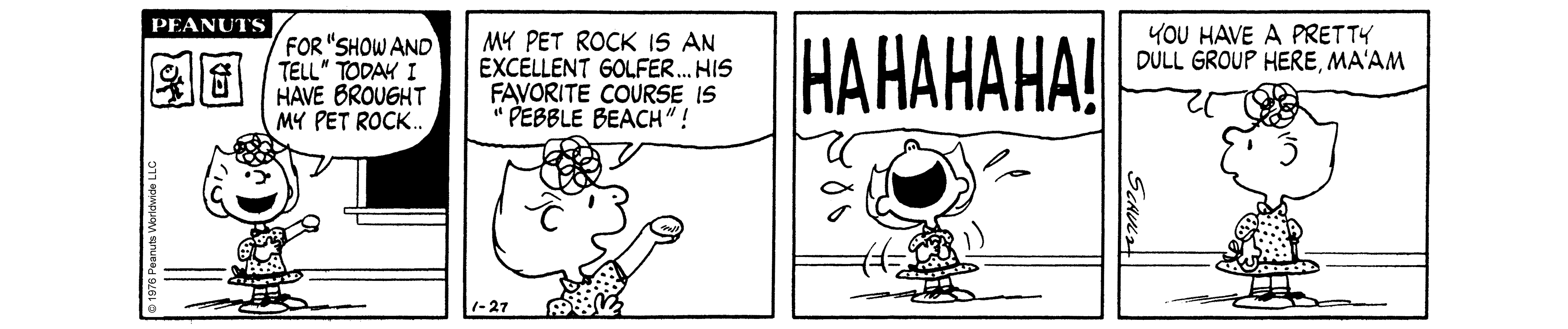 A black and white comic strip of a girl holding a rock in her hand and a girl laughing.