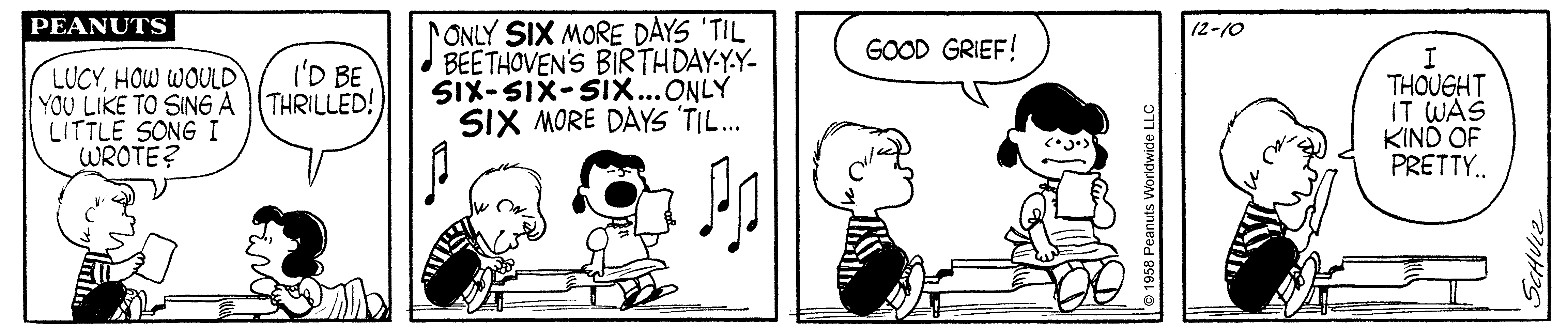 A black and white comic strip of a boy playing the piano and a dog kissing the boy.