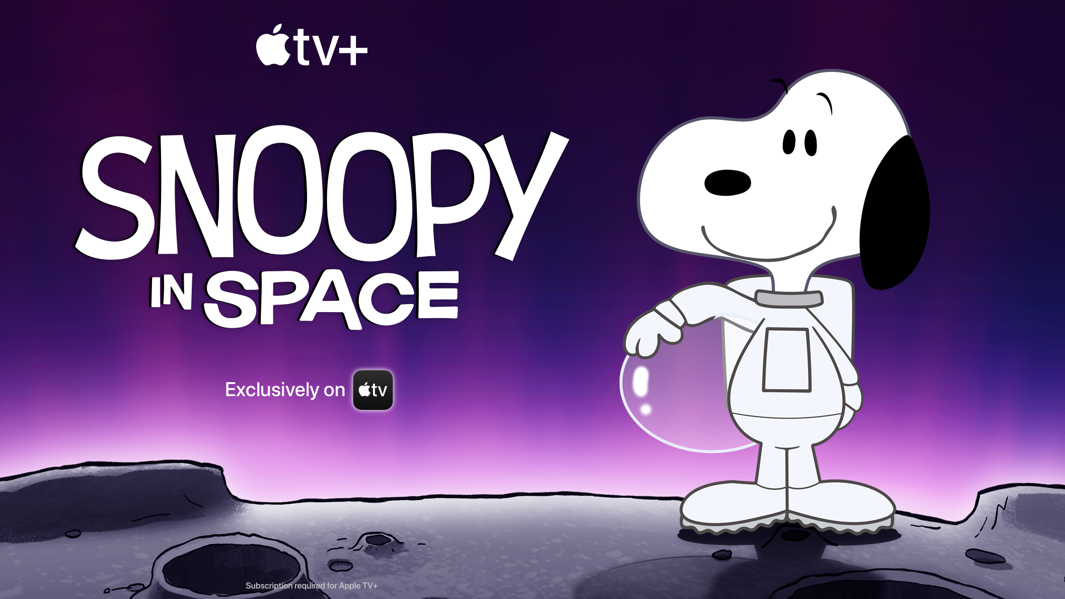 A white dog standing on the moon wearing a spacesuit and holding a helmet under his arm.