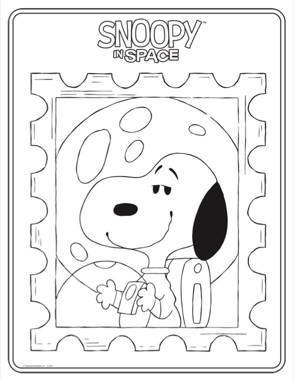 Coloring sheet of black and white dog in an astronaut suit holding a helmet