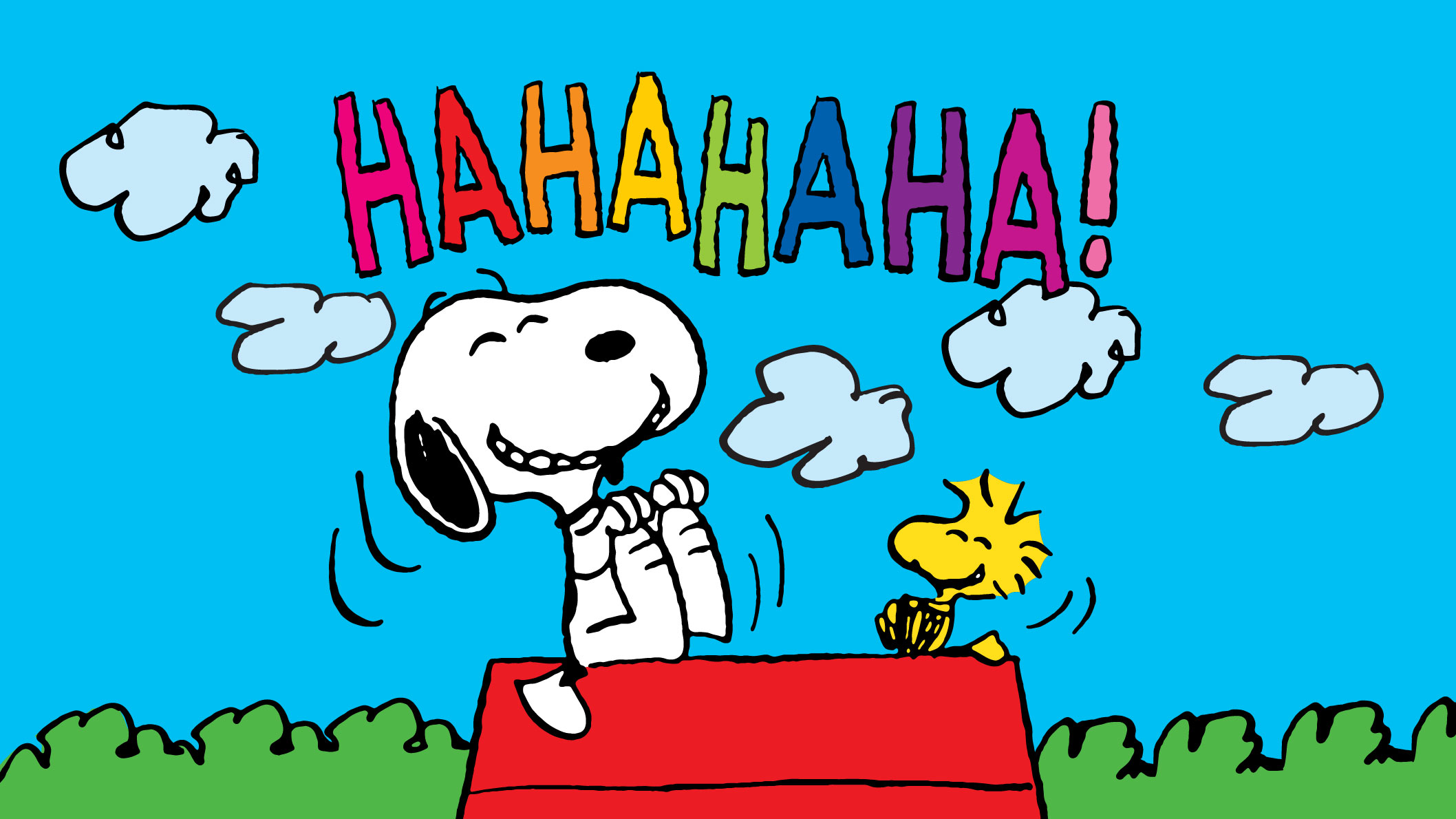 A black and white beagle and a little yellow bird laughing with the words Hahahahahaha!