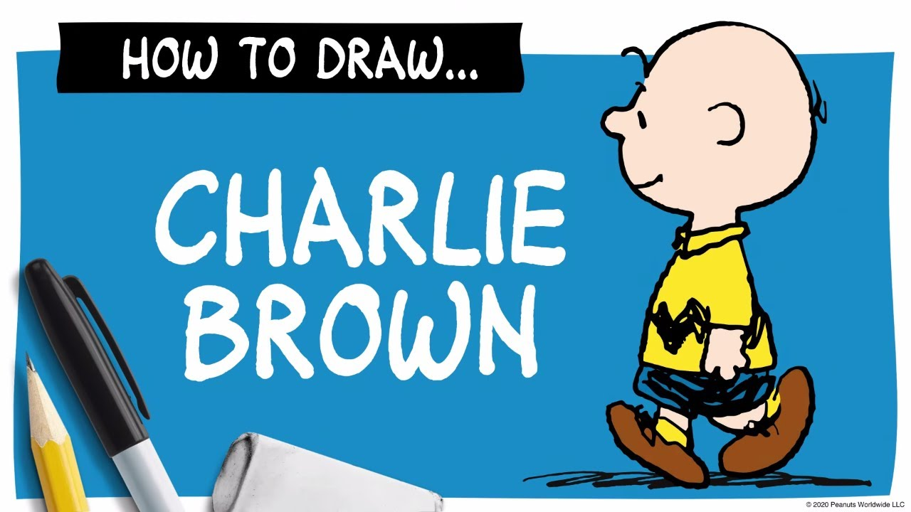 A drawing of Charlie Brown next to a pencil, marker and eraser, and the words How To Draw Charlie Brown