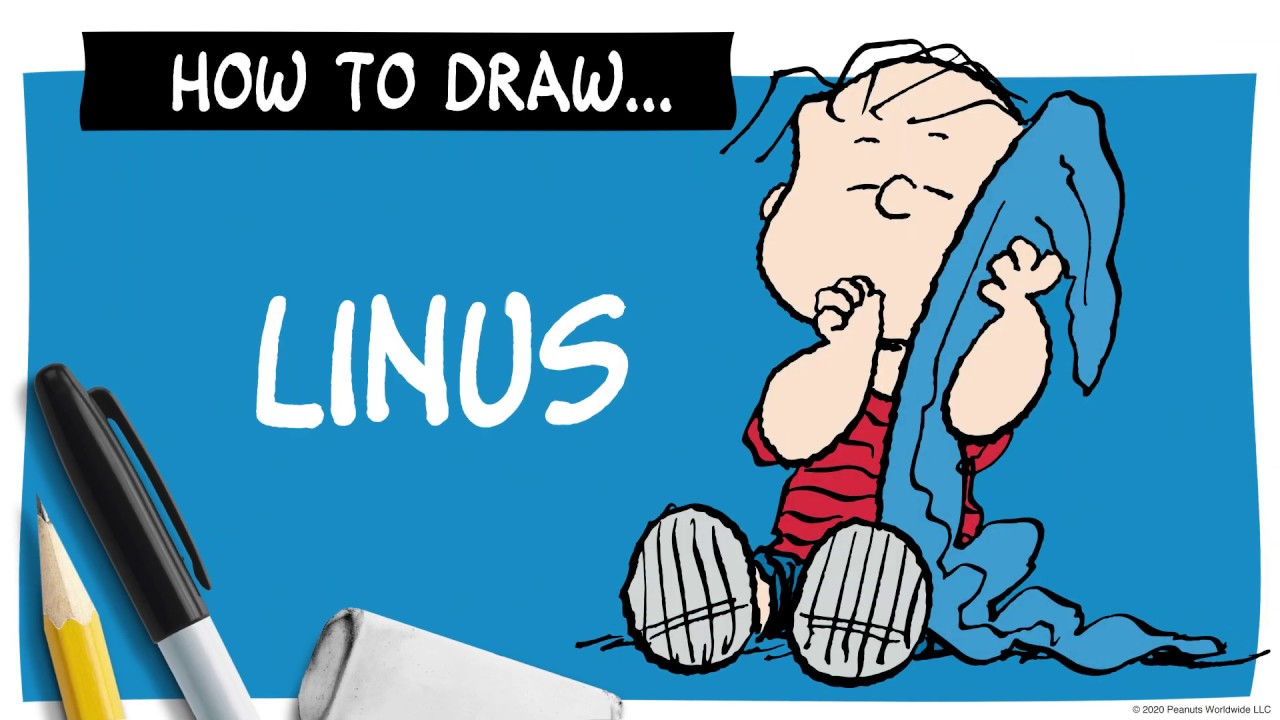 A drawing of Linus next to a pencil, marker and eraser, and the words How To Draw Linus.