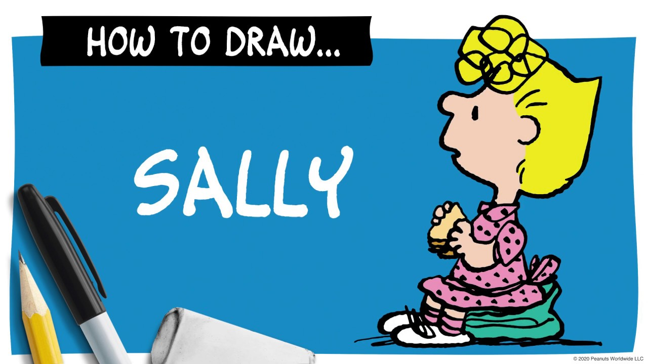 A drawing of Sally next to a pencil, marker and eraser, and the words How To Draw Sally.