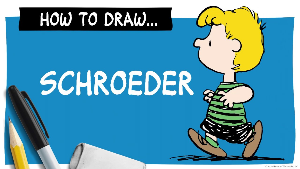 Drawing of a yellow-haired boy next to a pencil, marker, eraser and the words How To Draw Schroeder