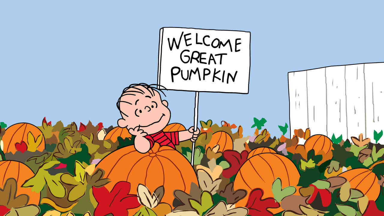 Boy sitting in a pumpkin patch holding a sign that says Welcome Great Pumpkin