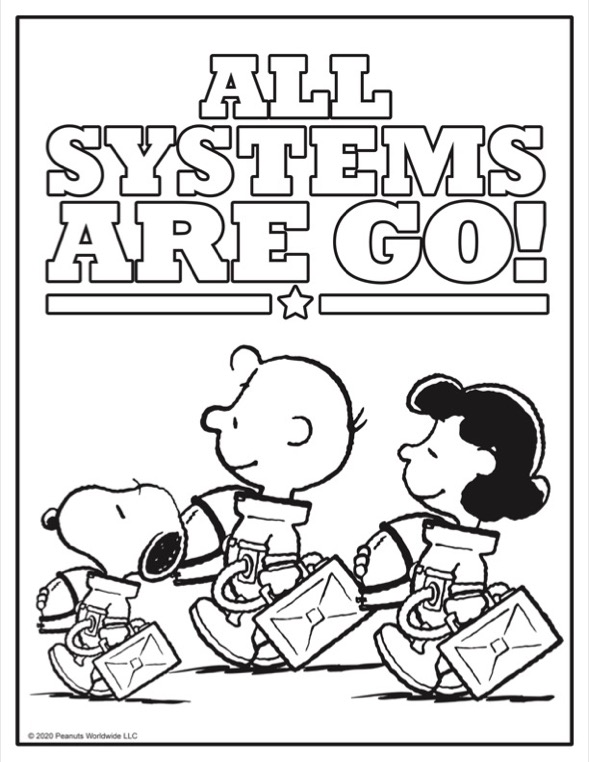 Coloring sheet of black and white dog, boy and girl in astronaut suits