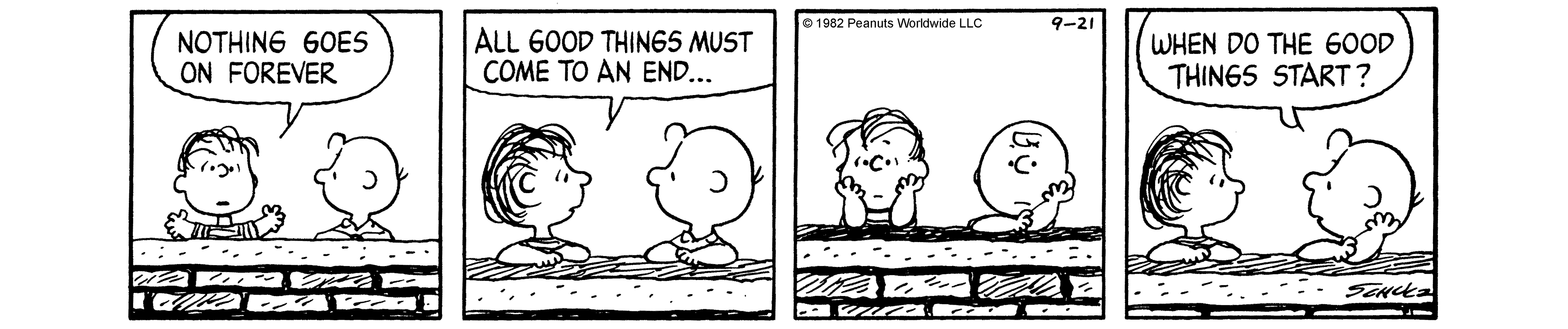 A black and white comic strip of two boys leaning on a fence.