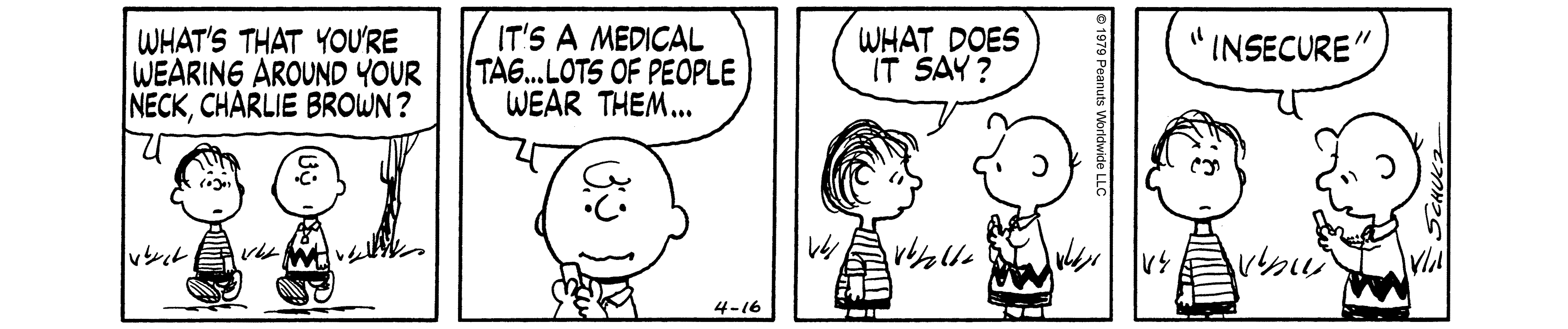 A black and white comic strip of two boys facing each other and talking.