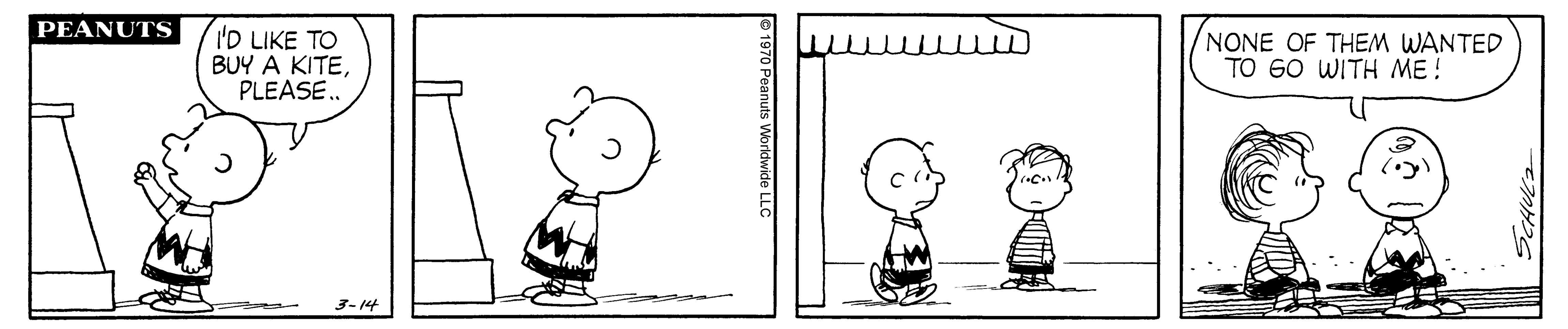 A black and white comic strip of two boys standing in front of a store.