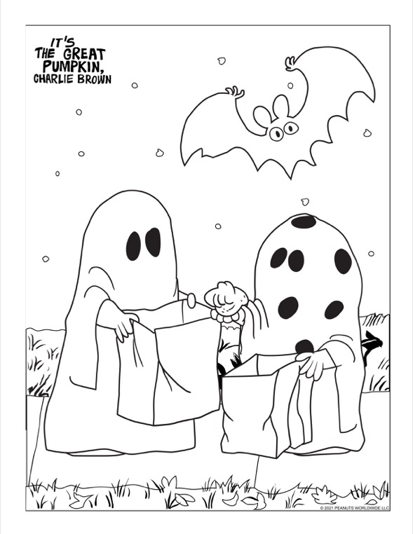 Two kids in ghost costumes holding trick or treat bags. One kid is holding a rock