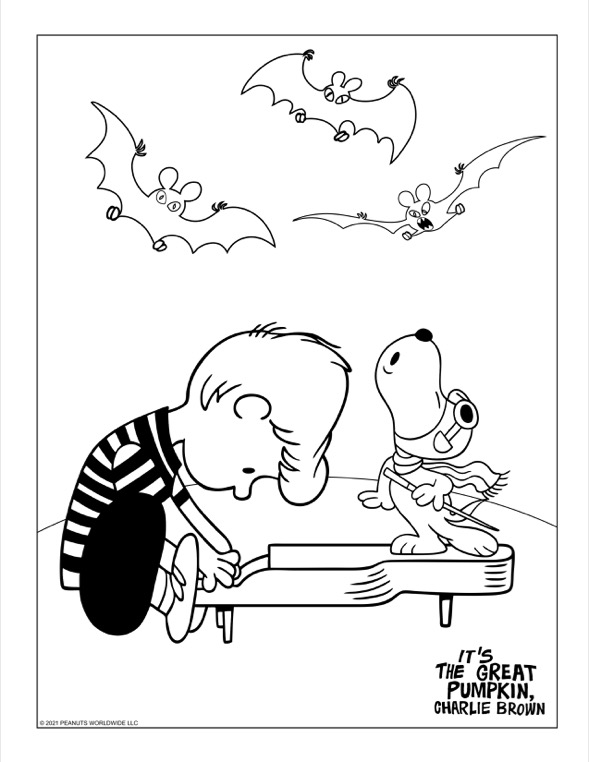 Boy playing a piano with a dog standing on top of the piano singing and bats flying in the air