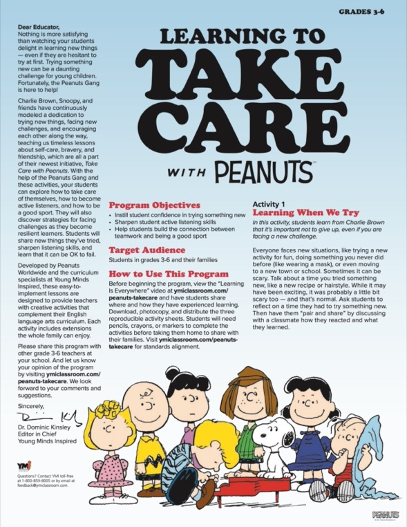 Learning to Take Care with Peanuts parent guide and activity sheet for grades 3-6