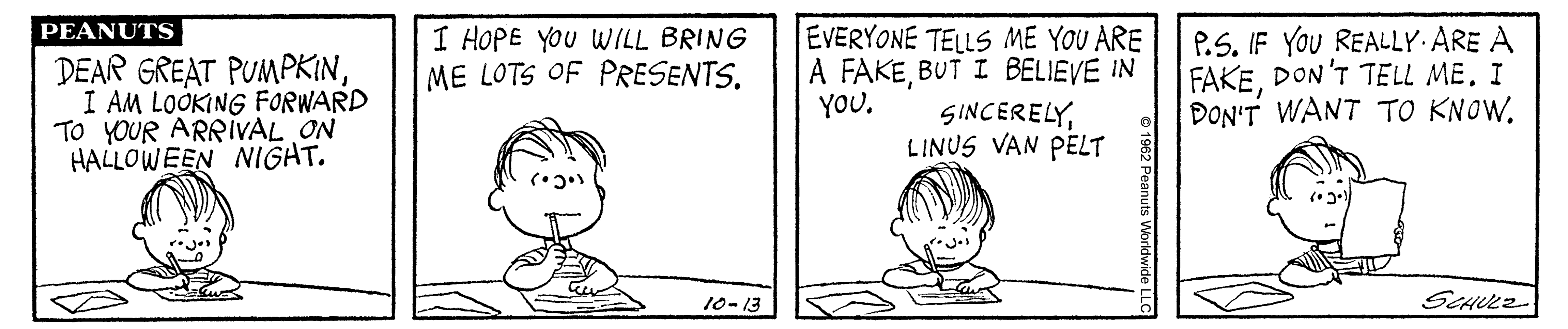 A black and white comic strip of a boy sitting at a table writing.
