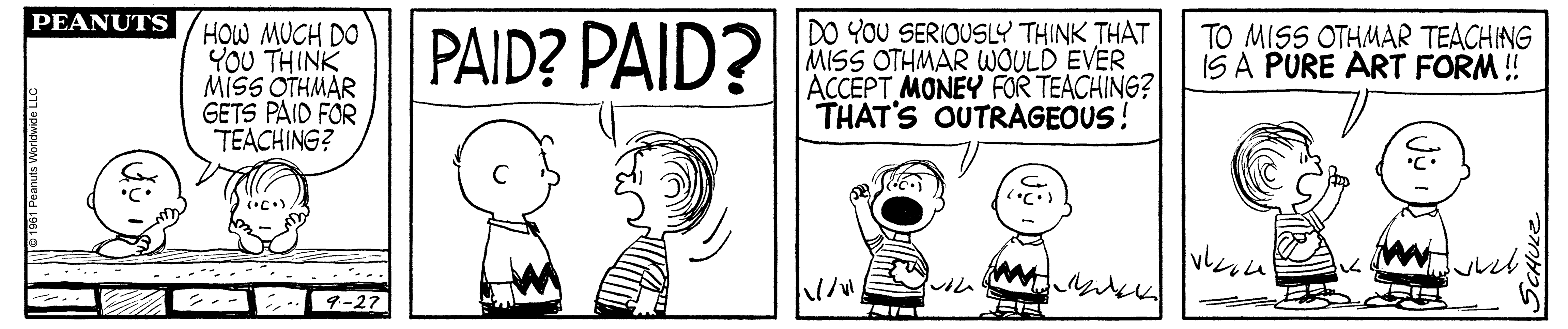 A black and white comic strip of two boys talking. One boy has his mouth wide open.