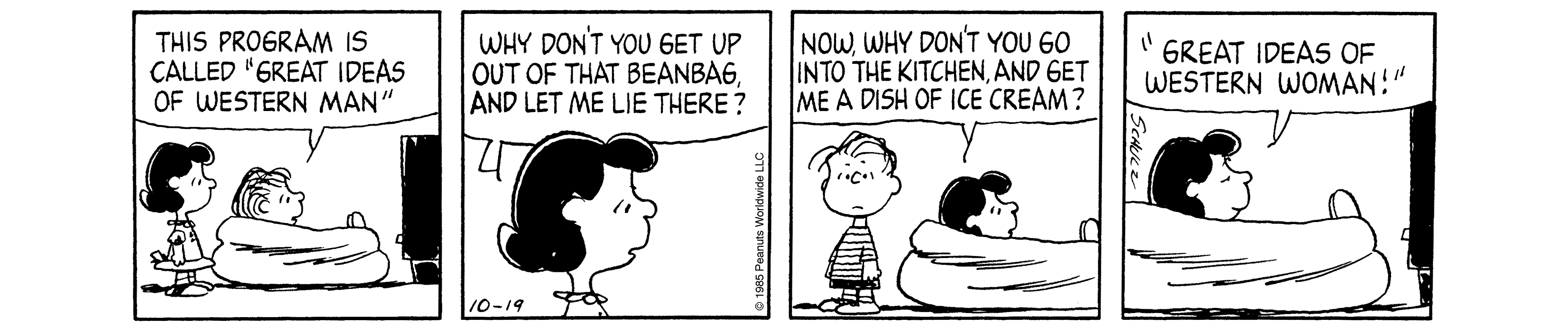 A black and white comic strip of a boy standing beside a girl sitting on couch.