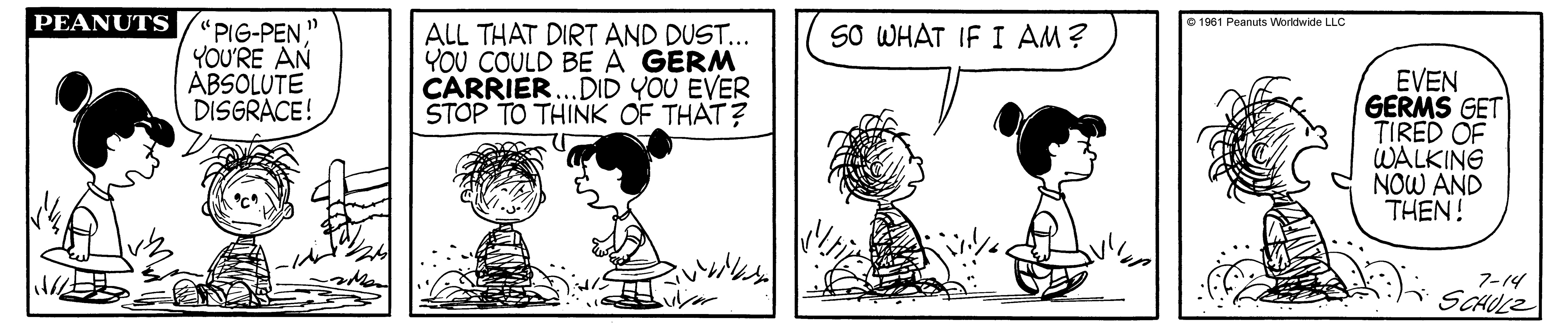 A black and white comic strip of a girl yelling at a boy covered in dust.