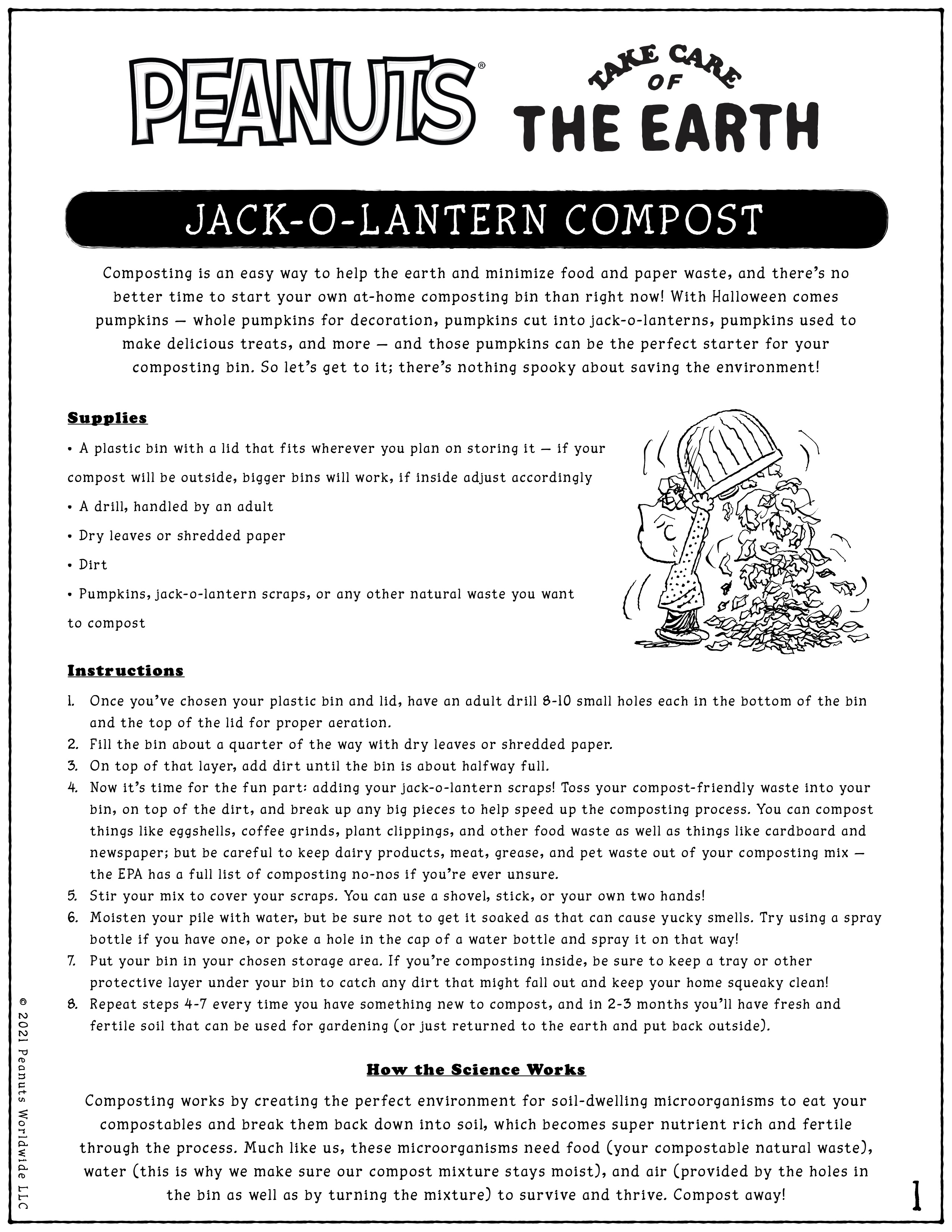 Jack-o-lantern compost activity sheet
