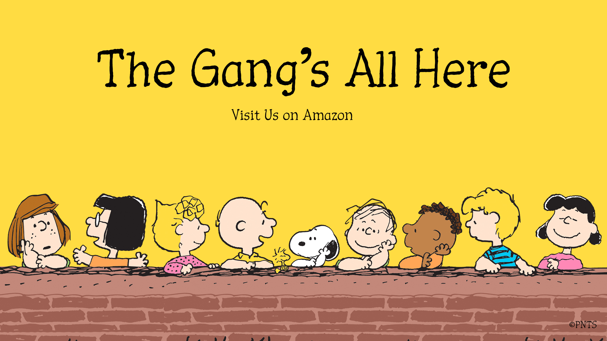 Image of a bunch of kids and black and white dog with text The Gang's All Here - Visit us on Amazon