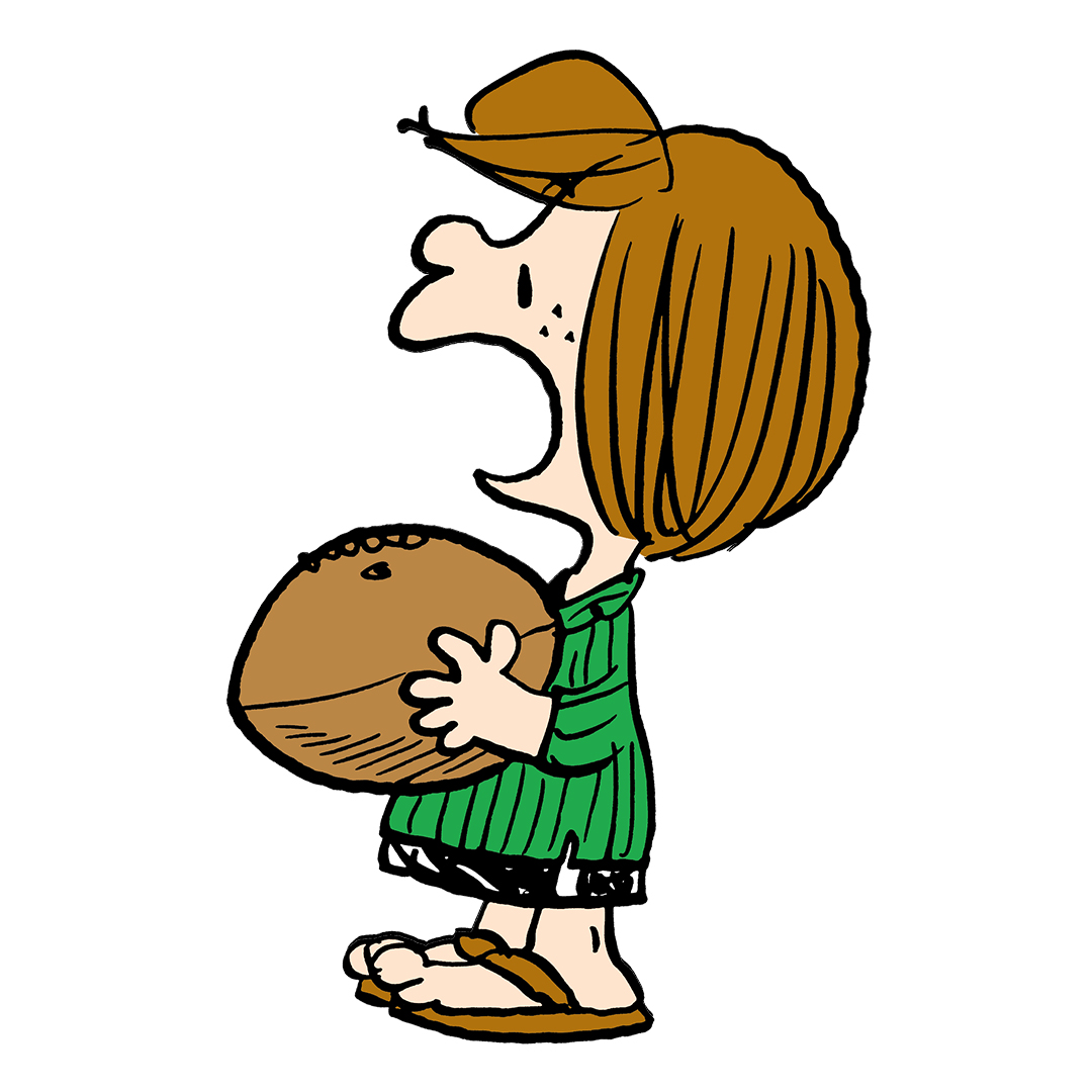 Image of a girl with short brown hair wearing a green shirt and sandals holding a football