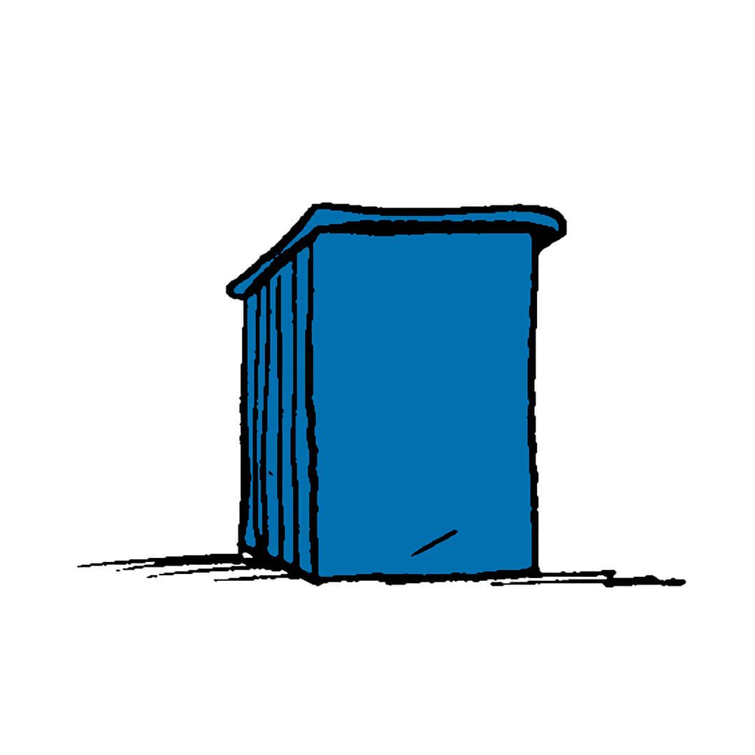 Blue podium