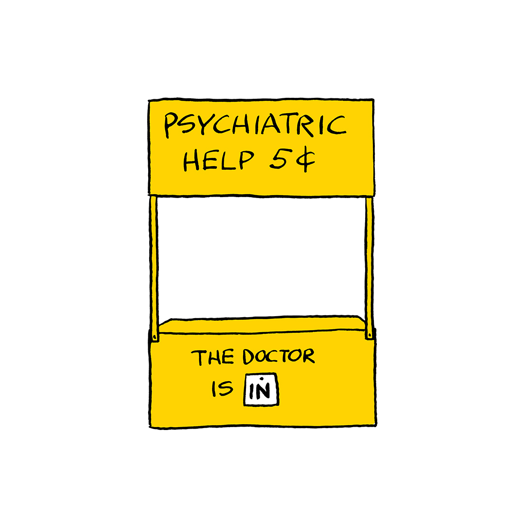A yellow psychiatric booth