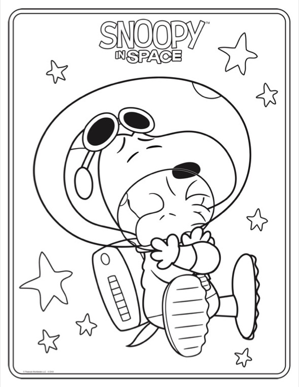 Coloring sheet of dog in a astronaut suite hugging a bird in a astronaut suit