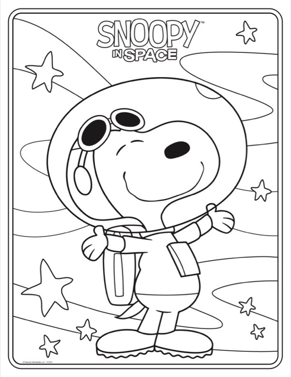 Coloring sheet of smiling dog in a astronaut suite with his arms spread out surrounded by stars