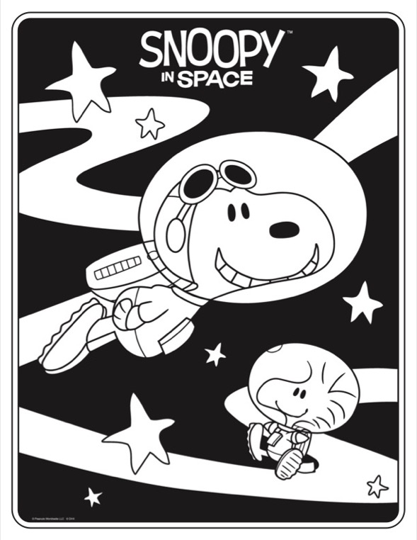 Coloring sheet of dog and bird in astronaut suits flying in outer space