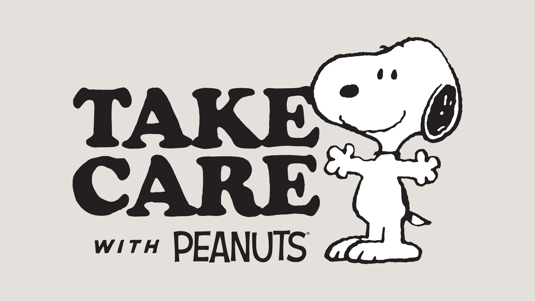 Black and white beagle with the text Take Care with Peanuts